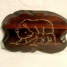 Vintage Carved Wood Bear Plaque Mother & Cub