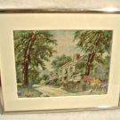 Vintage Needle Painting Embroidery Howard Payne Birth Place Home Hiawatha Heirloom