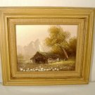 Modern Impressionist Landscape Oil Painting Mountain Meadow Barn Signed