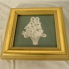 Abbey Lace Flower Basket Picture Miniature Gold Frame