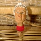 Old Lady Grandmother Bottle Stopper w/ cork Vintage Pottery Clay Head Bust