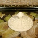 Vintage Cast Iron Finial Lid Cover for Jar, Bowl Cream White Paint