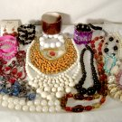 Vintage & Now Plastic Jewelry Lot of 22 Necklaces, Bracelets, Earrings etc.