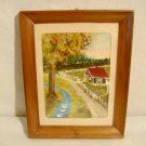 Vintage Folk Art Landscape Painting Gouache Rural House Signed Florence Whitehead