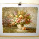 Impressionist Still Life Floral Painting Vintage Oil on Canvas Signed W. Adam