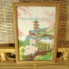 Japanese Silk Print Pagoda Cherry Blossoms Vintage Framed