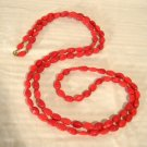 """Vintage Red Glass Necklace 54"""" long Flapper Length Coral Color Beads"""