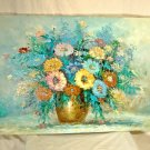 """Vintage Floral Still Life Painting Signed R. Boren Modern Impressionist Oil 36"""""""