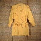 Vintage Liz Claiborne Trench Coat Jacket Sz L Yellow Cotton