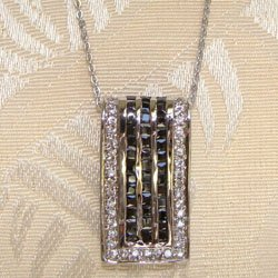 Black Onyx and CZ Pendant Sterling Silver Necklace