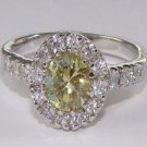 Round Peridot Green CZ Sterling Silver Ring