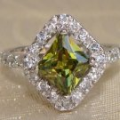 Princess Cut Olive Green CZ Sterling Silver Ring