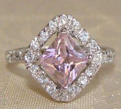 Princess Cut Pink CZ Sterling Silver Ring