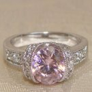 Pink Oval CZ Sterling Silver Ring