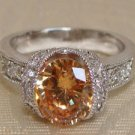 Citrine Oval CZ Sterling Silver Ring