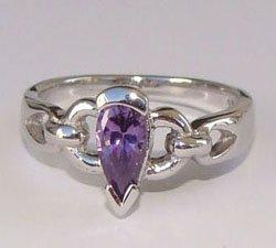 Amethyst Heart CZ Sterling Silver Ring