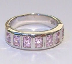 Seven Pink CZ Sterling Silver Ring