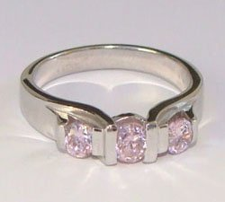Three Pink CZ Sterling SIlver Ring