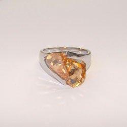 Unique Champagne CZ Sterling Silver Ring