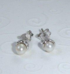 White Fresh Water Pearl Sterling Silver Earrings