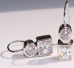 Round and Princess Cut CZ Sterling Silver Earrings