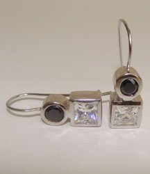 Round and Princess Cut Black Onyx CZ Sterling Silver Earrings