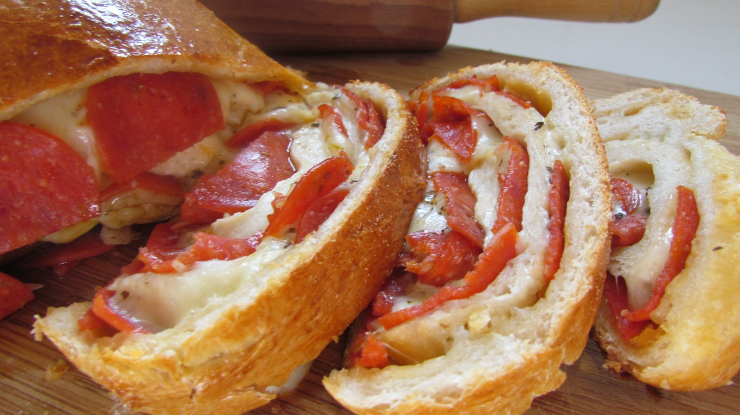 Pepperoni, Onions and Cheese Stromboli Bread