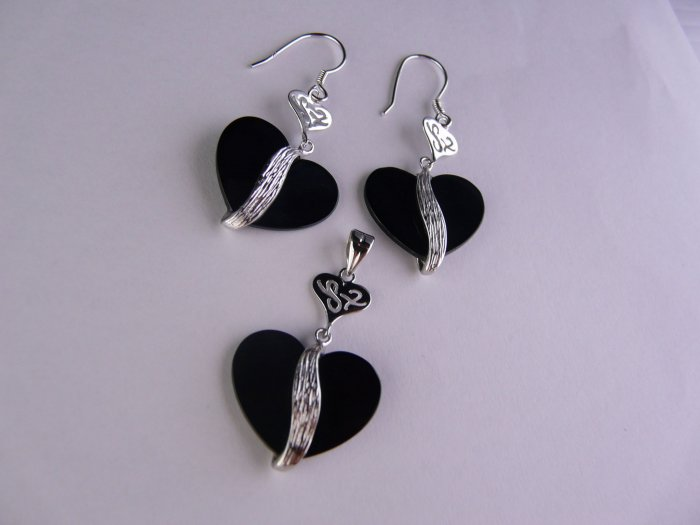 Sterling Silver Set , Pendant and Earrings