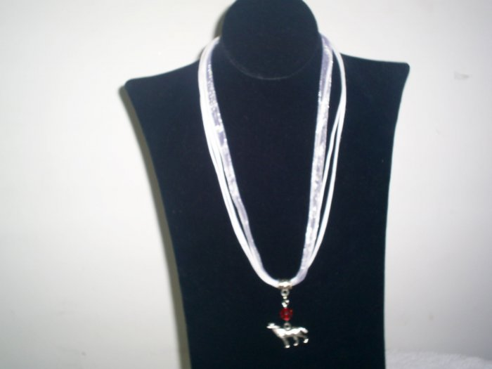 BELLA INSPIRED NECKLACE WHITE VOILE RIBBON CHAIN