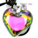MULTICOLOR  HEART NECKLACE LAVENDER METAL CHOKER CHAIN