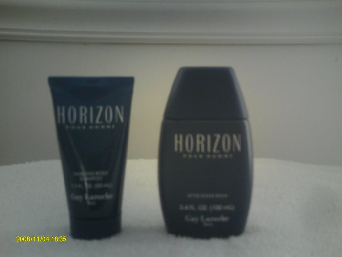 Horizon Guy Laroche Men~3.4 oz Aftershave Balm~1.7 oz. Hair & Body Shampoo