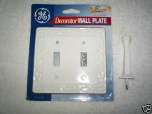 2 PC. SET WHITE DOUBLE SWITCH PLATE/DOOR STOP *NEW*