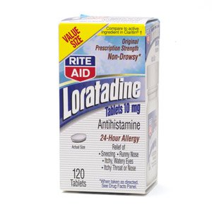 RITE AID LORATADINE 24 HOUR 10 MG COMPARE TO ACTIVE INGREDIENTS IN CLARITIN~120 TABLETS~EXPIRED