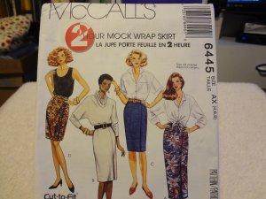 McCalls 6445 2 Hour Mock Wrap Skirt (Size 4,6,8)