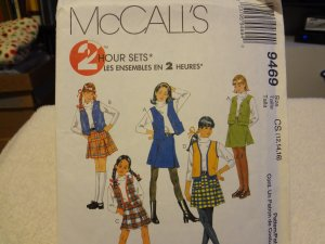 McCalls 9469 Children's & Girls' Skirt & Lined Vest Sets (size 12,14,16)