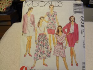 McCalls 6535 Misses' Unlined Cardigan, Tunic, Top, Skirt & Culotte (size 16,18,20)