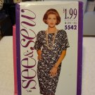 Butterick See & Sew 5542 Misses'/Misses' Petite Dress (size XS,S,M,L,XL)