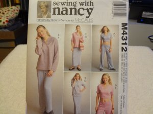 McCalls M4312 Misses' Tops, Skirt, Pants & Shorts For Stretch Knits Only (Size 8-22)