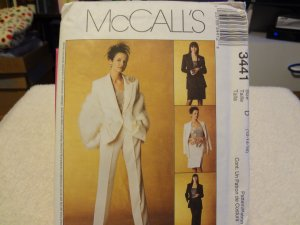 McCalls 3441 Misses'/Miss Petite Lined Jacket, Top, Pants and Skirt (size 12,14,16)