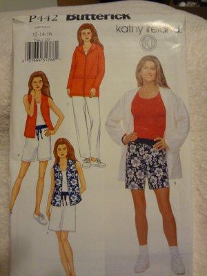 Butterick P442 Misses'/Misses' Petite Jacket, Top, Skirt, Shorts & Pants (size 12,14,16)
