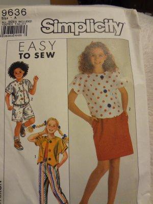 Simplicity 9636 Girls' Skirt, Pants, Shorts & Tops (Size 7-14)