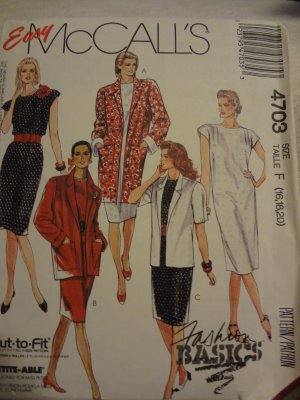 McCalls 4703 Misses' Unlined Jacket and Dress (Size 16,18,20)