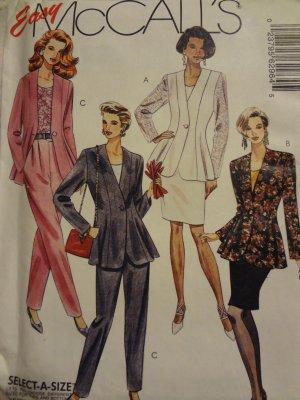 McCalls 6296 Misses' Unlined Jacket, Top, Skirt & Pants (Size 14,16,18)