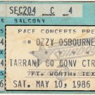1986 May 10 Ozzy Osbourne Ultimate Sin Tour Fort Worth Texas with Metallica