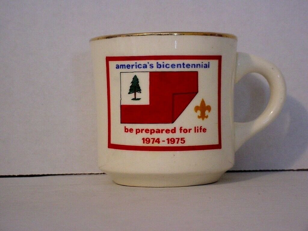 BSA 1974-75 Boy Scout Coffee Mug Cup America's Bicentennial be prepared for life