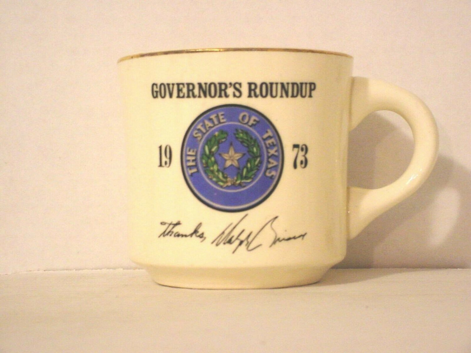 BSA 1970's Boy Scout Coffee Mug Cup 1973 Governor's Roundup Dolph Briscoe