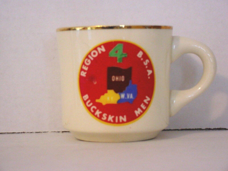 BSA 1970's Boy Scout Coffee Mug Cup Region 4 Buckskin Men