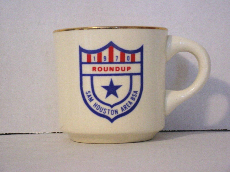 BSA 1970's Boy Scout Coffee Mug Cup Sam Houston Area Council 1970 Roundup