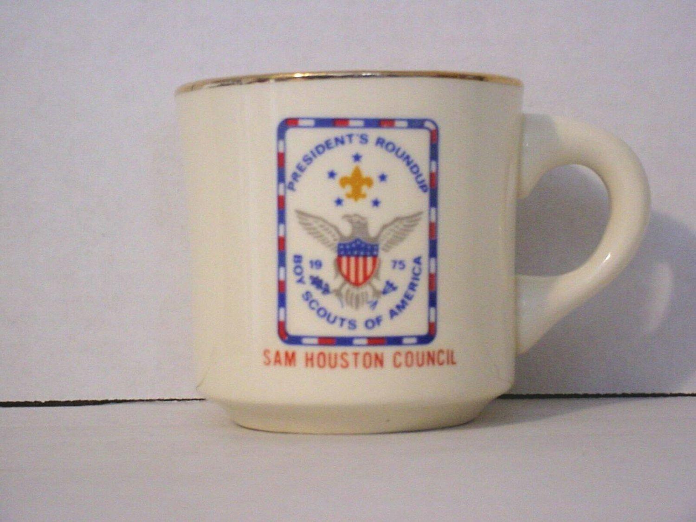 BSA 1970's Boy Scout Coffee Mug Cup Sam Houston Area 1975 President's Roundup