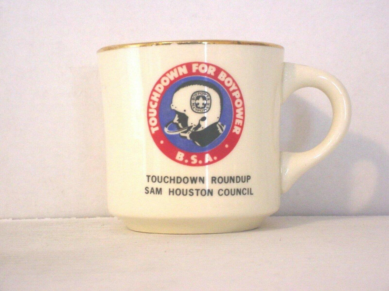 BSA 1970's Boy Scout Coffee Mug Cup Sam Houston Touchdown For Boypower Roundup